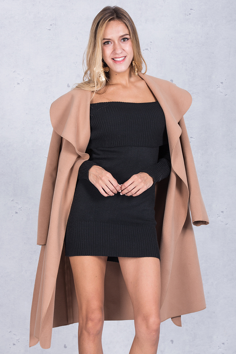 Simplee Black ruffle warm winter coat Women turndown long coat collar overcoat female Casual autumn 16 pink outerwear 3
