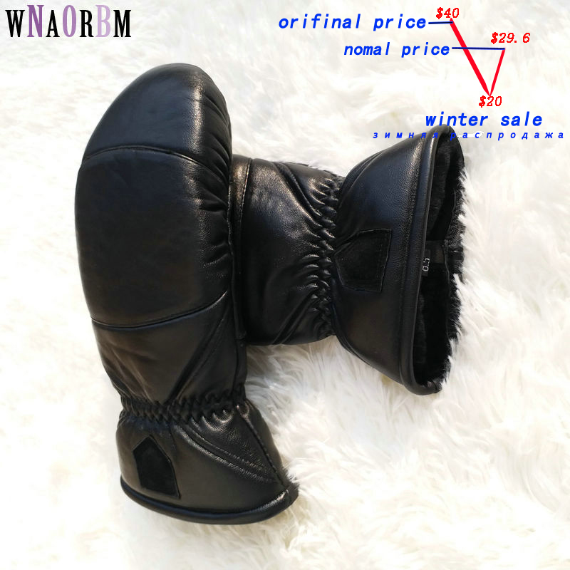 Woman Leather gloves Sheepskin Boxing Gloves Bending Outdoor Thicken Warm Winter Gloves Double Warm Sport gloves Oversized size