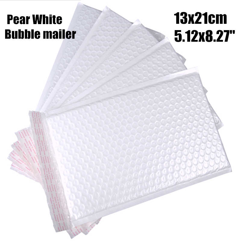 13*21cm(5.12*8.27'')20pcs/lot Usable Pearl white Poly bubble Mailer waterproof envelope padded Mailing Bag Self Sealing for gift