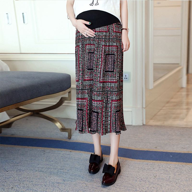 Pengpious new spring and summer pregnant women chiffon skirts fashion printed high waist belly skirts mid-calf long floral skirt