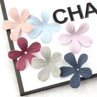 Comercio al por mayor 100 Unids/lote Tela BRICOLAJE Material de Joyería Accesorios Pétalo de la Flor Parche Adhesivo Craft Fit Niñas Pinzas Para El Cabello Diadema