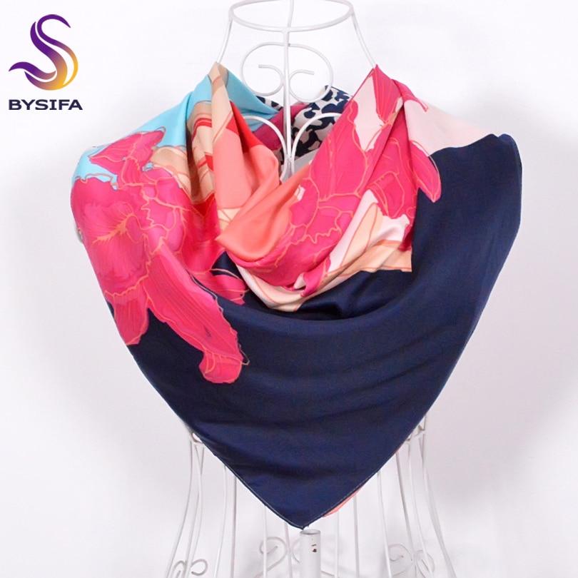 [BYSIFA] Pink Silk Scarf Shawl Muslim Kvinder Hoved Halstørklæder Forår Efterår Brand Ladies Daylily Leopard Udskriv Square Scarves Wraps
