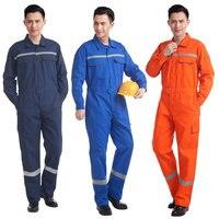 Мужские рабочие комбинезоны Рабочая Униформа 100% хлопок Сварка механик Светоотражающая одежда сиамский эластичный пояс Комбинезон