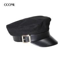 Dropshipping marca Vintage sombreros para las mujeres sombrero militar de  la manera Casquette invierno lana sombrero caliente PU. 198917136b8