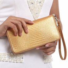 Women Alligator Leather Wallets Crocodile Purse Female Card Holder Luxury Money Dollar Bag Ladies Gold Long Walet Girls Wristlet(China)