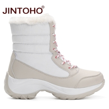JINTOHO Big Size Winter Women Snow Boots Fashion Winter Women Shoes Autumn Female Boots Mid-Calf Platform Boots 2017 Woman Shoes