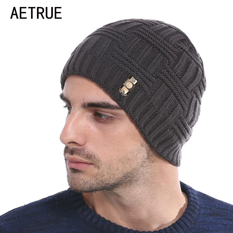 AETRUE Winter Beanies Bonnet Knit Hat Men Winter Hats For Men Women Brand Beanie Skullies Balaclava Black Gorros Warm Hats 2018