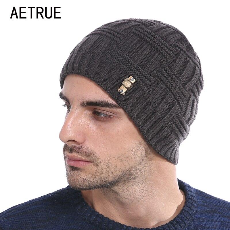 AETRUE Winter Mützen Mütze Strickmütze Männer Winter Hüte Für männer Frauen Marke Beanie Skullies Balaclava Schwarz Gorros Warme Hüte 2018