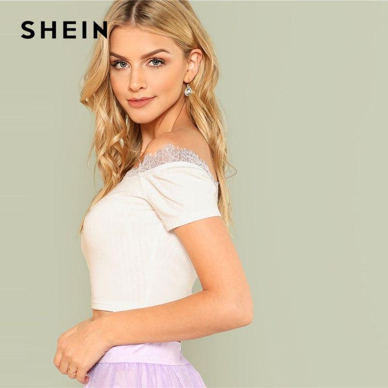 aa0dcfd8e6e SHEIN White Eyelash Lace Insert Crop Bardot Top Women Off The Shoulder Short  Sleeve Plain T shirt 2018 Summer Sexy Party Tee-in T-Shirts from Women's ...