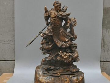 Xd 002212 20' Bronze Auspicious Dragon Guan Yu Guan Gong Hero Sculpture Statue