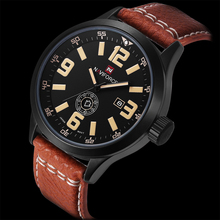 Caliente de La Manera Relojes de Los Hombres del Reloj de Cuarzo Horas Fecha y Día Reloj Hombre Militar Del Ejército Reloj Deportivo Impermeable de Cuero Masculino Del Relogio