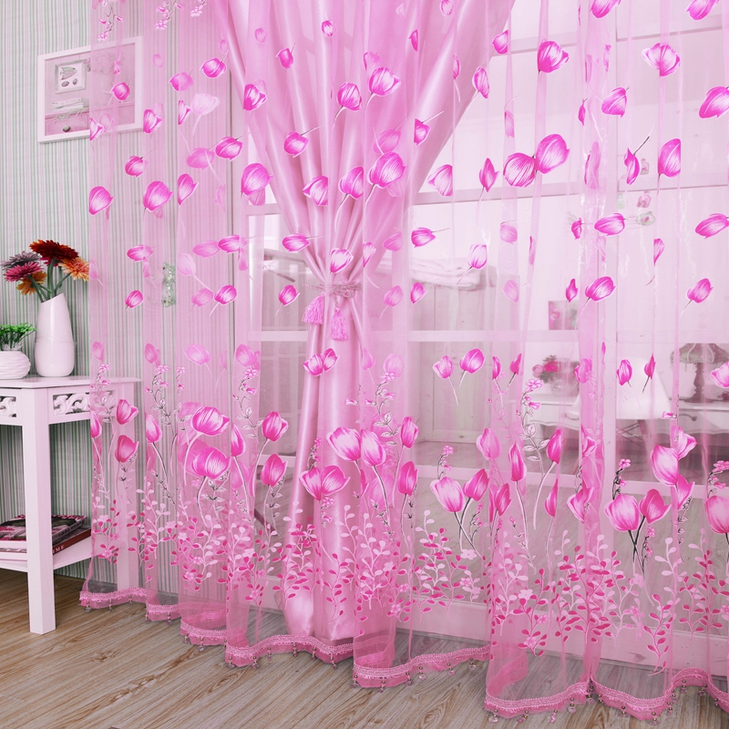 Modern Tulle Curtains For Living Room Purple Curtains For Children Bedroom Door Short Kitchen