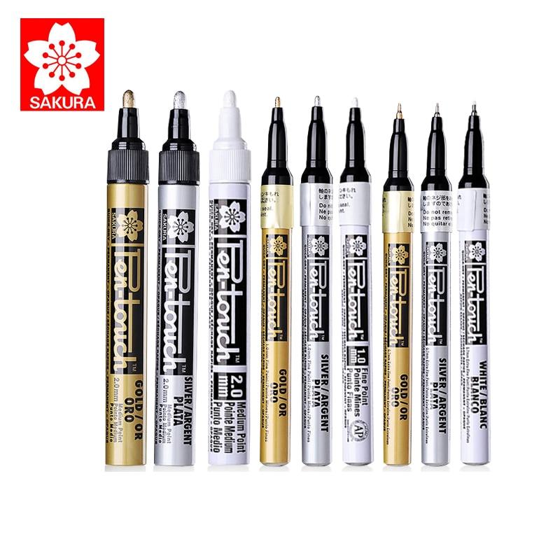 SAKURA Highlight Marker Paint Universal Writing Marks Gold Silver White 0.7/1.0/2.0mm Designed for DIY Picture Art SuppliesSAKURA Highlight Marker Paint Universal Writing Marks Gold Silver White 0.7/1.0/2.0mm Designed for DIY Picture Art Supplies