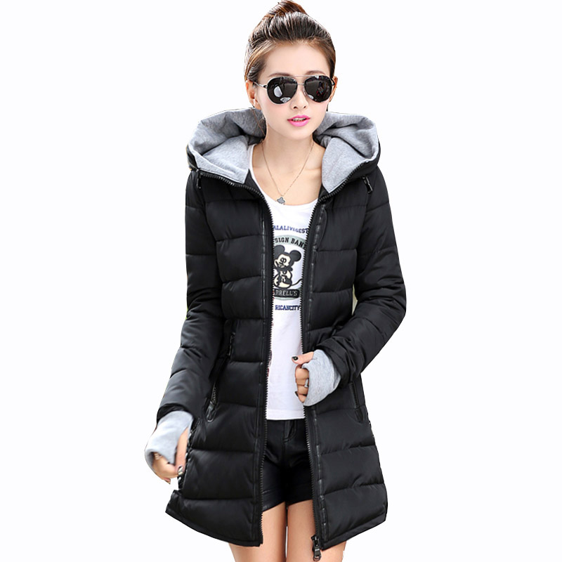 2017 New Winter Coat Women Long Cotton Hooded Parkas Winter Thick Cotton Jacket Women Parkas Female Coats Snow Wear RE0074 korean winter jacket women large size long coat female snow wear cotton parkas hooded thick warm coats and jackets 7 colors