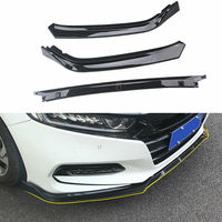 3pcs Carbon Fiber Style/Black Car Front Bumper Cover Trim Protector For Honda Accord 2018