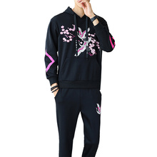 Men's tide men's winter thickening plus velvet two-piece suit long-sleeved sweater casual sports hooded printed Hoodies suit стоимость