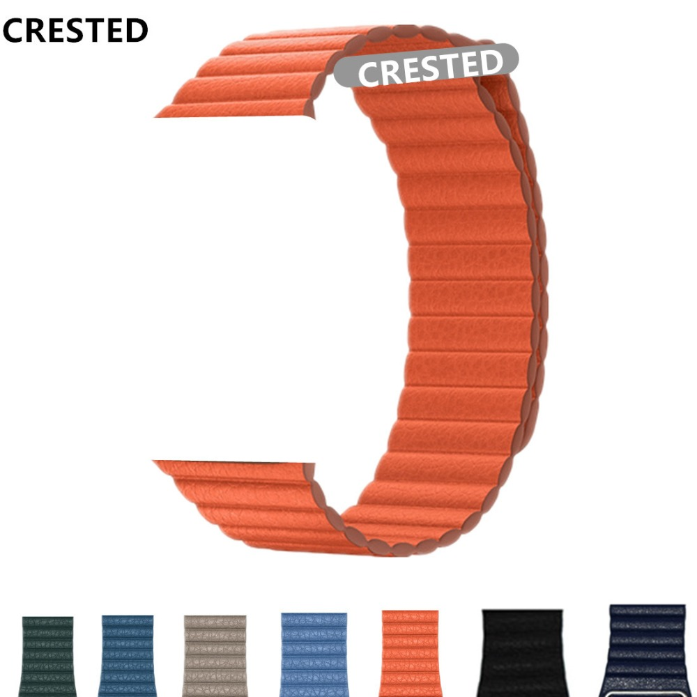 CRESTED Leather Loop strap For Apple Watch band apple watch 4 3 44mm/42mm iWatch band 40mm/38mm Magnetic Closure braceletCRESTED Leather Loop strap For Apple Watch band apple watch 4 3 44mm/42mm iWatch band 40mm/38mm Magnetic Closure bracelet