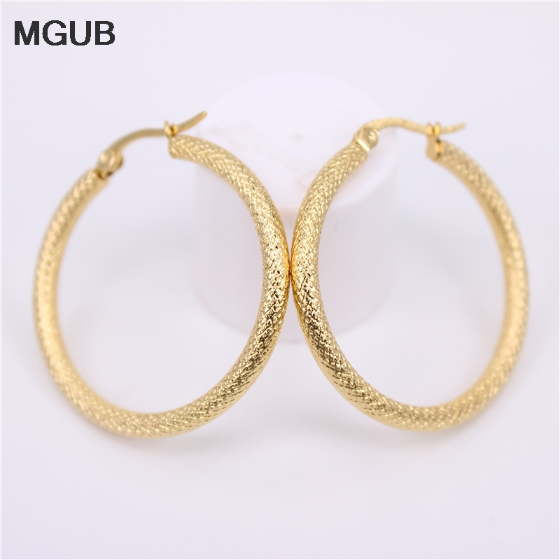 MGUB 2018 New Hoop Earrings Stainless Steel Gold Color Women Jewelry Vintage Earring For Women Mother's Gifts HX28
