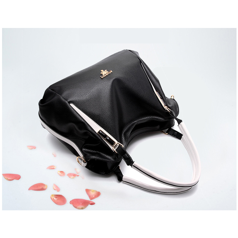 0d5321b73ca US $18.13 49% OFF Black White Women Leather Handbag Wholesale Splice Hand  For Women Bag Luxury Famous Brand Shoulder With Crossbody Bag AWM124-in ...