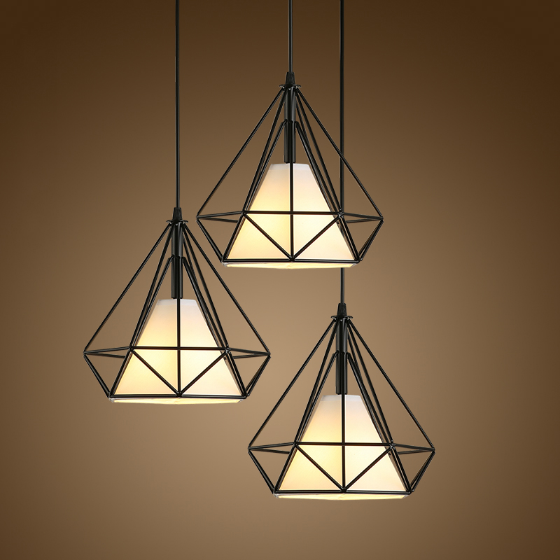Modern Vintage Fabric Pendant Light LED Edison Bulb Diamond Hanging Lamp Home Hotel Restaurant Living and Dining Room Decoration modern crystal chandelier led hanging lighting european style glass chandeliers light for living dining room restaurant decor