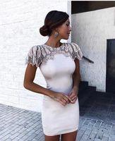 Schwarz und Weiß Farbe Damen HL Verband-kleid Perlen Hand machen Sexy Bodycon Minikleid Abend Party Kleid