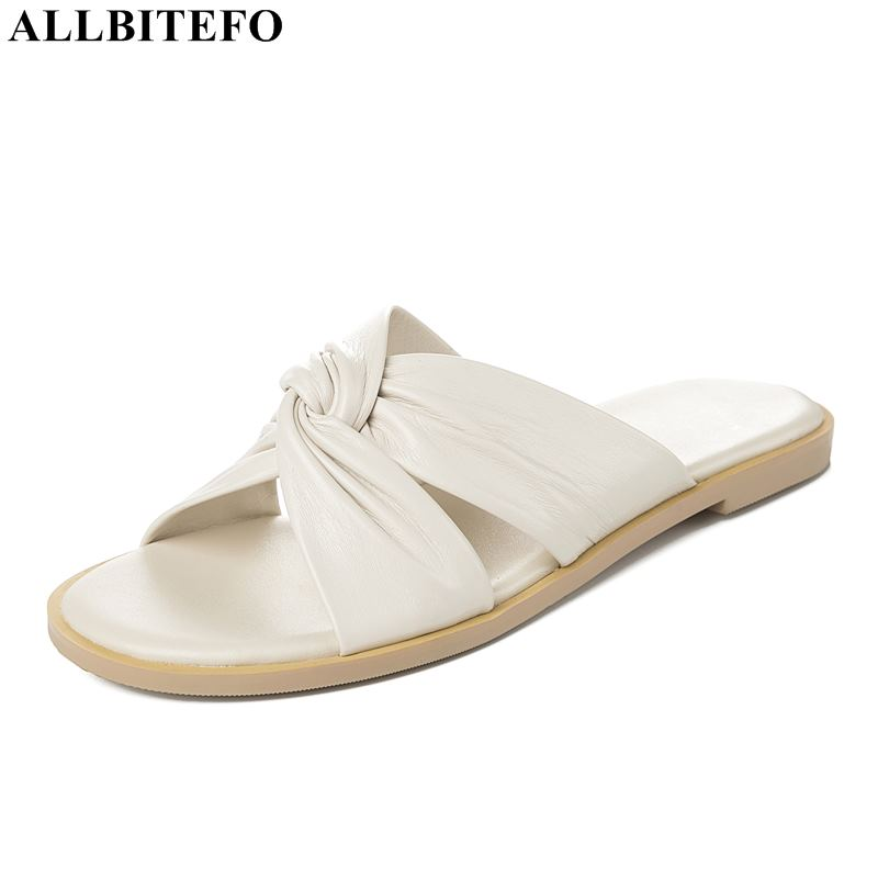 ALLBITEFO full genuine leather comfortable women shoes high quality office ladies shoes summer women sandals women slippers-in Women's Sandals from Shoes    1