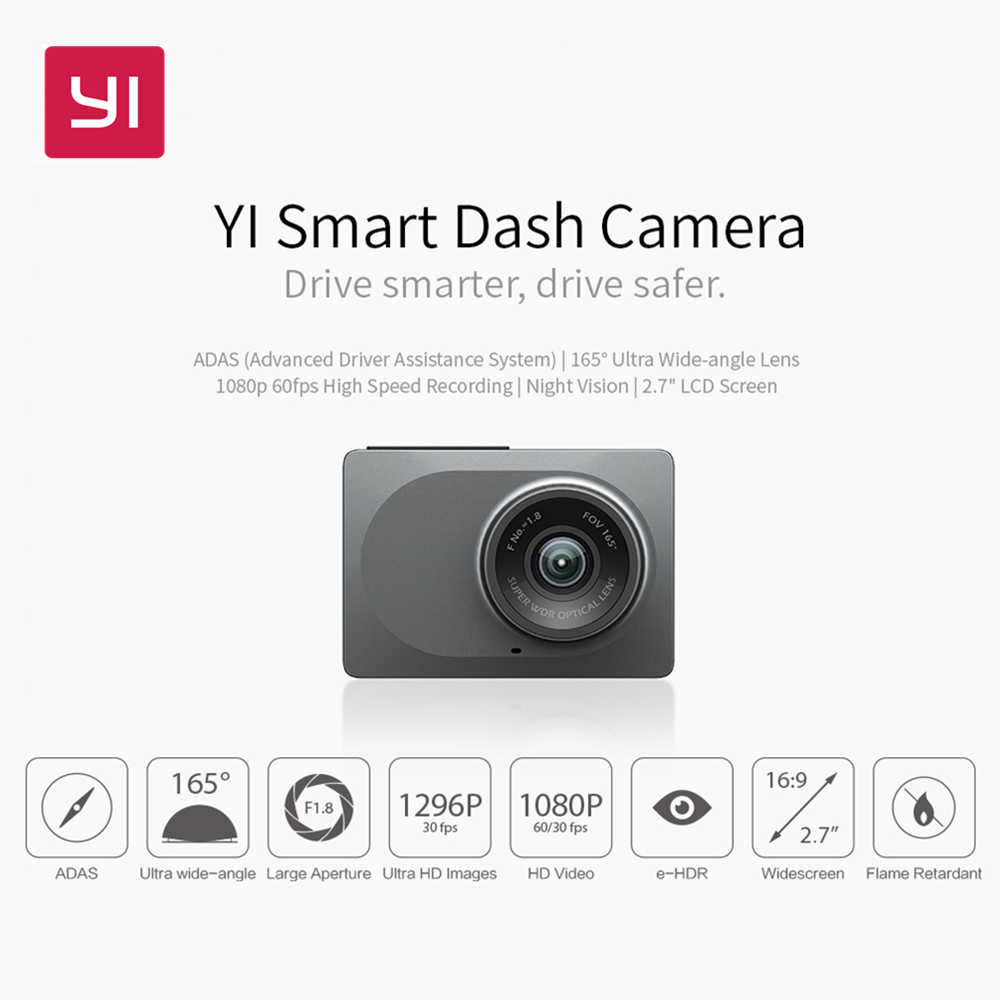 "YI Smart Dash камера WiFi Автомобильная камера + sd-карта FHD 1080P 2,7 ""165 градусов 60fps Dashcam ADAS безопасное напоминание YI Smart DVR"