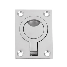 Marine Rectangular Stainless Steel Ring Pull Handle Boat Accessories Marine for Boat Hatch  2.5 x 1.8 inch  Silver