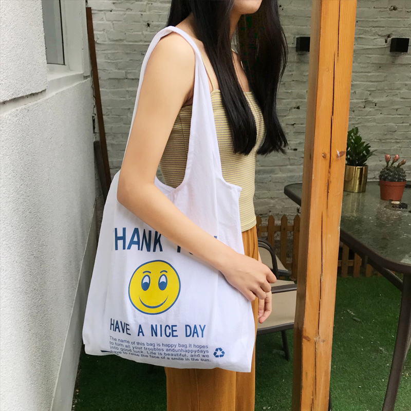 YILE Cotton Linen Eco Shopping Tote Vest Shoulder Bag Print Smiling Face Have A Nice Day CY01