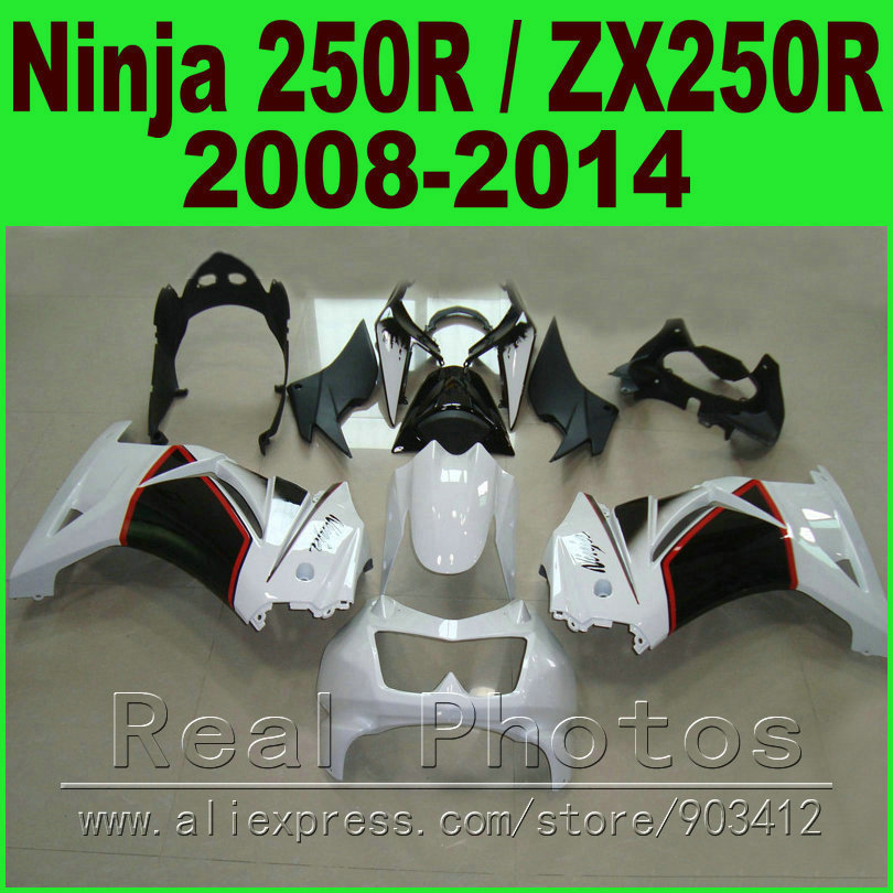 Black white Kawasaki Ninja 250R Fairings kit 2008 2009 2010 2011 2012 2014 year ZX 250 EX250R 08 09 - 14 fairing body kits K0J1 corner protector bronze tone antique brass jewelry gift box wood case decorative feet leg 4 1x2 3cm 1pc