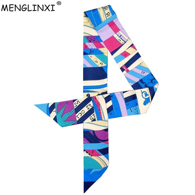 2019 New Skinny Scarf Letter Plaid Printing Silk Scarf For Women Luxury Brand Foulard Women Tie Fashion Head Scarves For Ladies