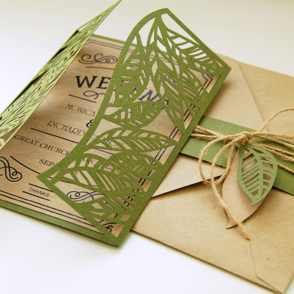 Laser Cut Tree Wedding Invitations: Customized Tropical Leaves Leaf Laser Cut Wedding