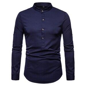 Image 2 - Весенняя Мужская Повседневная рубашка, новые модные мужские рубашки с длинным рукавом Camisa, мужские тонкие рубашки, винтажные мужские рубашки, европейские размеры