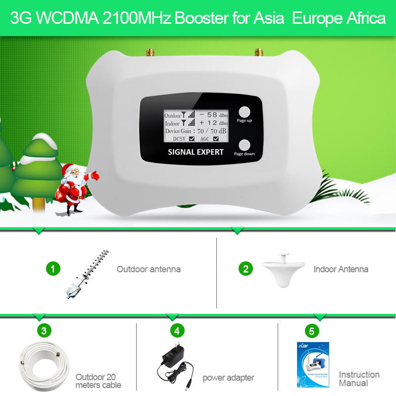 3G Ripetitore Del Segnale WCDMA 2100 MHz Mobile Del Segnale Del Ripetitore Singolo Band Telefono Cellulare Ripetitore con Yagi + Soffitto antenna per uso domestico