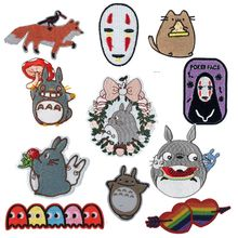 New Japan Anime Totoro Embroidered Iron On Patch DIY No Face Man Embroidery Handmade Crochet Sew Clothes Appliques