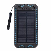Tollcuudda 10000mAh Solar Panel Power Bank Dual USB Power Supply With 12 LEDs Light For Outdoor