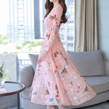 2019 Women party dress Fashion Floral Printed Dress Long Sleeve Dress V Neck Casual Party Dress A-Line Long Dress a line long sleeve long dress