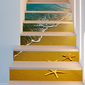Image 3 - Sun Sandy Beach Seastar Waves DIY Steps Stairs Stickers Posters Removable Stair Decal PVC Sticker Poster Home Decor Decoration