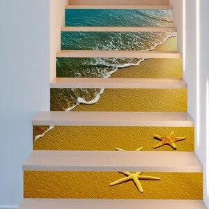 Image 3 - Sun Sandy Beach Seastar Waves DIY escaleras escalones pegatinas carteles calcomanía de escalera extraíble pegatina de PVC cartel decoración del hogar
