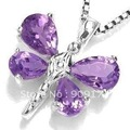 free Shipping*5PCS beautiful Amethyst Dragonfly Pendant Necklace