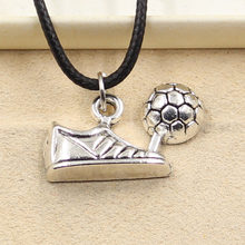 New Durable Black Faux Leather football boots shoes Cord Choker Charm DIY Necklace Pendant Retro Boho Tibetan Silver(China)