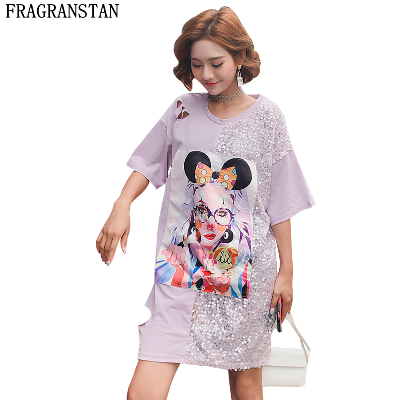 Orderly Ladies Summer Plus Size Cartoon Print Sequined Cotton Dress Women Casual Loose Short Sleeve Vestido Harajuku Holes Dresses Ly503 Nourishing Blood And Adjusting Spirit Women's Clothing