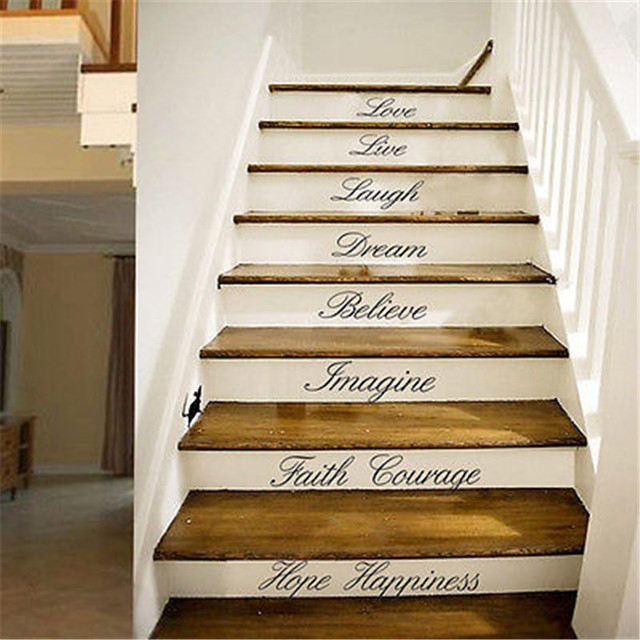 Love Live Laugh Stairs Wall Quote Removable Stickers DIY Vinyl Decals Home  Decor