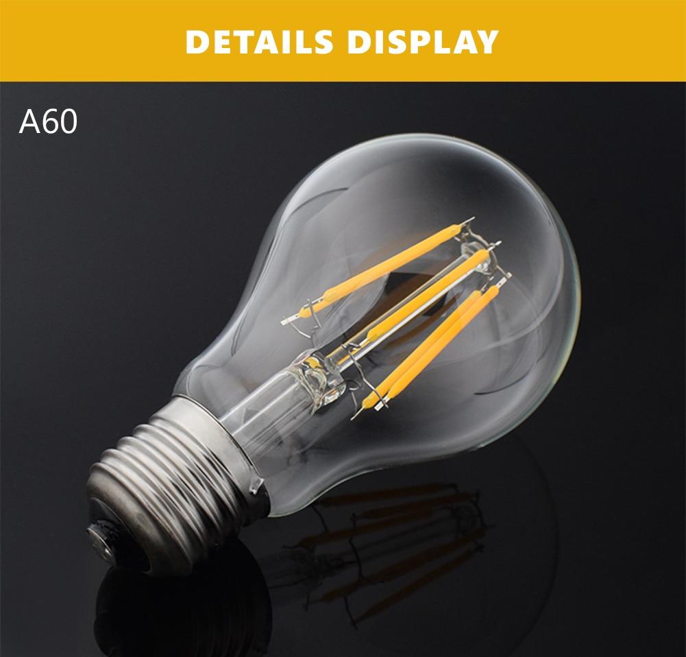 Wholesale 12PCS Dimmer LED Bulb E27 Filament Light Glass Bulb A60 220V 240V 16w Lamp Antique Retro Vintage Led Edison Lamp
