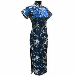 Image 3 - שחור אדום סינית מסורתית שמלת נשים של סאטן ארוך Cheongsam Qipao פרח גודל S M L XL XXL XXXL 4XL 5XL 6XL