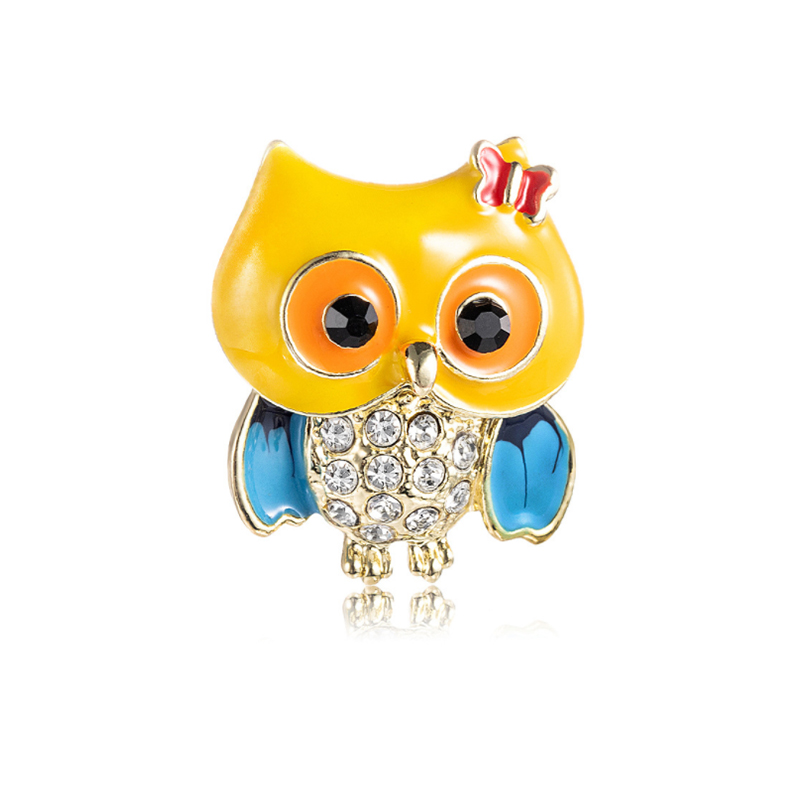 Enamel Owl Brooch Ladies Leaf Jewelry Pin Fashion Animal Bird Brooches Pins For Clothes Accessories Girls Gifts 2019 Hot Sale image