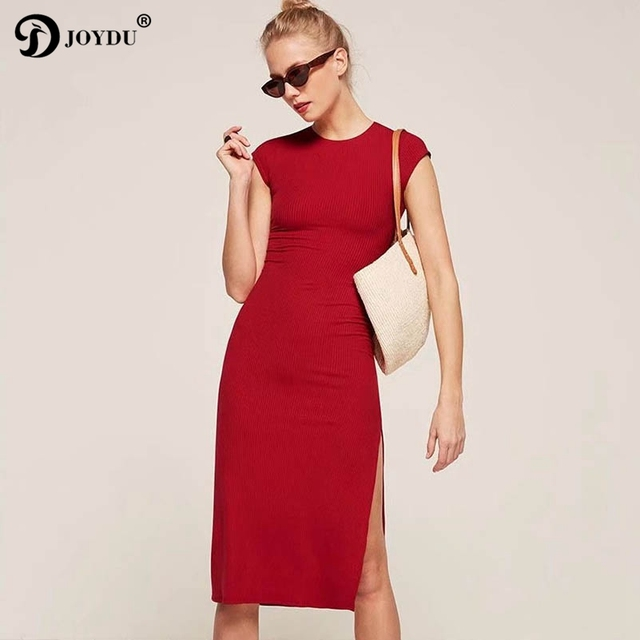 10f2f0d6b0c JOYDU 2018 Zomer Jurk vrouwelijke Hoge Split Fashion Basic Gebreide Jersey  Casual Jurk Boho Vrouwen Slim