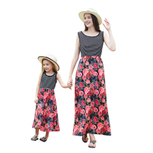 2019 Summer Mom Daughter Stripe Dress Casual Long Skirt Floral Beach Dress Matching Family Outfits недорого