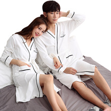 Autumn and winter new long-sleeved couple robe bathrobe cotton kimono long simple comfortable home service