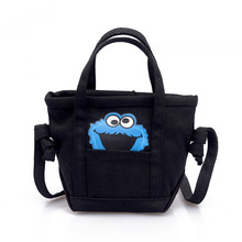 HJKL Sesame Street Cookie Monster The new canvas bag cartoon printed Shoulder bag casual contracted students bag shopping bags
